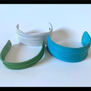 Jewelry - Set of 3 - Italian Leather Cuff Bracelets